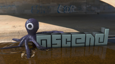 CG inclusion of octopus, text, and fluid simulation against an HDRI Panoramic Photo. HDRI from http://www.hdrlabs.com/sibl/archive/index_files/collage_over_image_page0_11_1.png