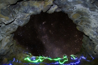 beartrap cave milkyway light painting IDAHO