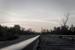 Sunset on the rails in Sterling, Idaho