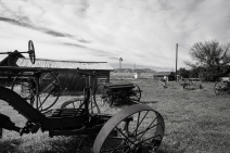 Old farm equipment in Chesterfield, Idaho