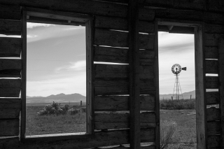 Old windmill from house in Chesterfield, Idaho