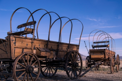 These old wagons are outside of the City Of Rocks Visitor center