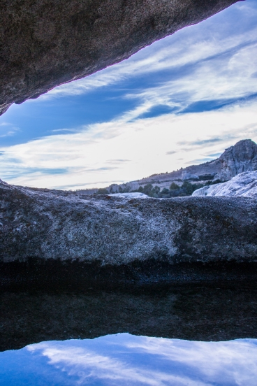 This is a puddle in a huge boulder in City of Rocks, Idaho