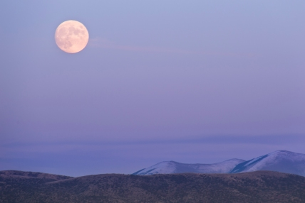 The moon rising over Malta, Idaho