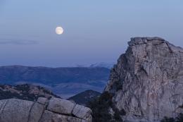 Moon rising over City of Rocks, Idaho