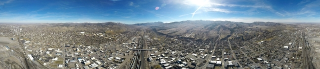 Old Town Pocatello 360˚ panorama from above the tracks.