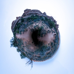 Stereographic re-projection of the sunset of the trail panorama.