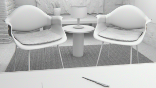 This is the ambient occlusion pass of my office. You can more clearly see the geometry of the scene without any light, textures, or materials.