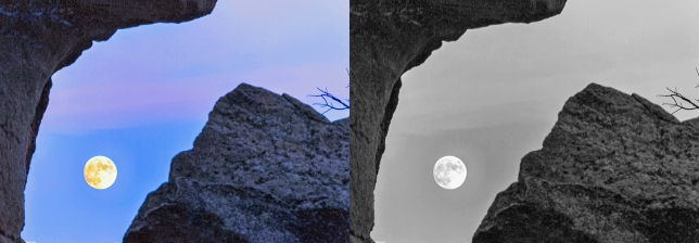 This is the Harvest Moon from City of Rocks in Malta, Idaho. This image is great in black and white. I did not think it would look better with out color. I really like the colors in the sky, but I think the BnW works better.