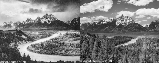The trees have grown too tall to see much of the river, but here is my version of the epic and historic Ansel Adams shot