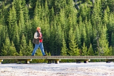 This is my professor Dr. Ownby spotting the next vantage point on the Grand Prismatic boardwalk.