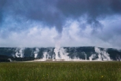 Here is Geyser Basin from a half a mile away. I love the way the steam was interacting with the storm clouds