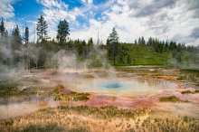 One of the prismatic pools at geyser basin in Yellowstone National Park. I wanted to take a soak since it was a cold day and this seems like a nice hot tub. Too bad it is illegal and would kill you