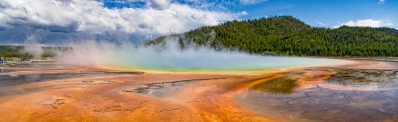 Shot this panorama at Grand Prismatic while wishing I could fly my quadcopter up and get a look at the actual pool. It is pretty much illegal to get a higher vantage point, sorry