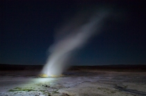 Light painted a geyser with my LED flashlight in Yellowstone National Park
