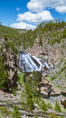 View of the falls from down along the designated path.